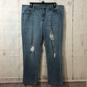 ANN TAYLOR LOFT 14 Cropped Skinny Jeans Plus Size